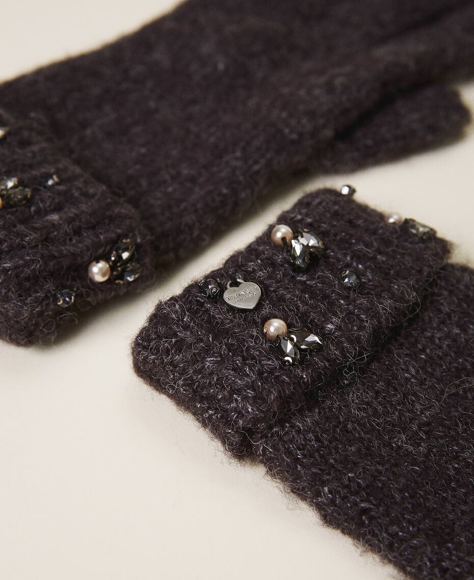"Knit gloves with pearls and bezels ""Intense Nude"" Pink Woman 202TO5112-02"