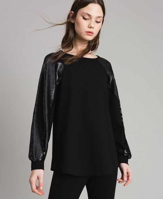 Sweat-shirt en maille avec sequins