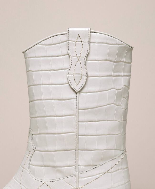 "Leather Texas boots with crocodile print ""Snow"" White Crocodile Print Woman 201TCP040-04"