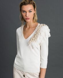 Cashmere blend jumper with fringes White Snow Woman 192TT3304-02
