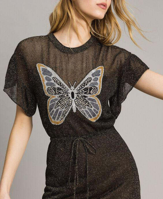 Lurex dress with butterfly