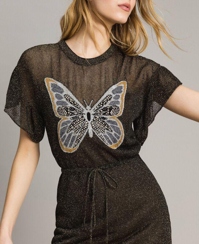 Lurexkleid mit Schmetterling Lurex Schwarz Frau 191TT3100-01