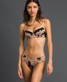 Culotte brésilienne en dentelle bicolore Noir / Rose «Pêche» Femme 192LL6D77-01