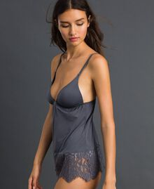 Underwear top with lace Lead Grey Woman 192LI61WW-01