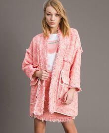 "Fringed tweed oversized jacket Multicolour ""Wild Rose"" Pink Bouclé Woman 191TP2522-01"