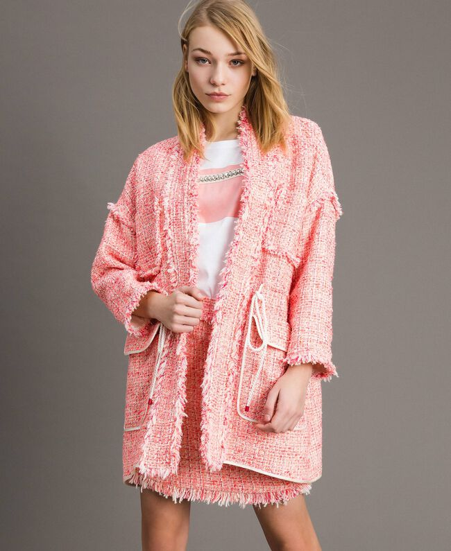 "Übergroße Jacke mit Fransen-Tweedmuster Multicolour ""Wild Rose"" Pink Bouclé Frau 191TP2522-01"