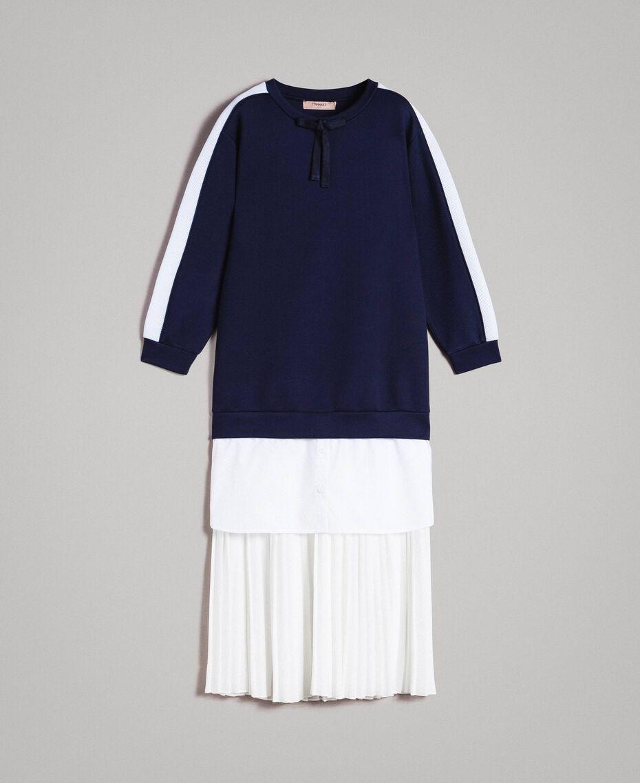 Robe longue plissée en scuba Bicolore Bleu Nuit / Blanc Soie Femme 191TP2066-0S