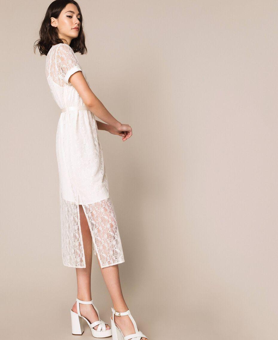 "Long lace dress with belt ""Silk"" White Woman 201ST2151-01"