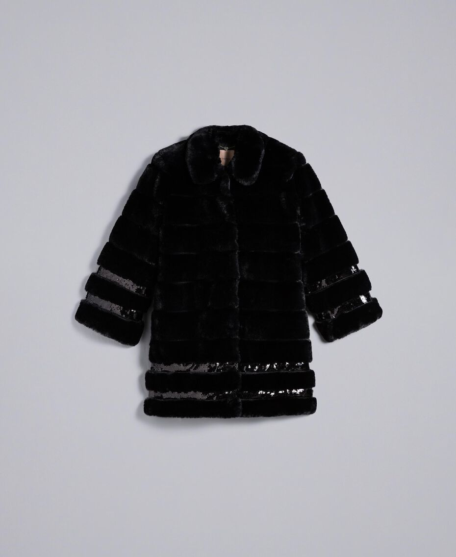 Faux fur sequin coat Black Woman PA82KB-0S