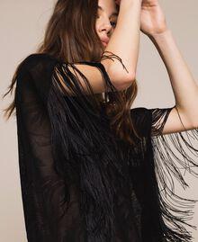 Maxi pull en dentelle filet avec franges Noir Femme 201TT3011-04