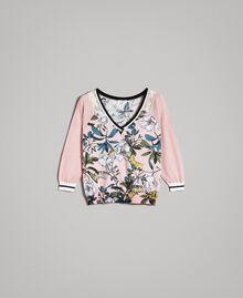 """Lurex-Pullover mit Blumenmuster Motiv Exotisch """"Soft Pink"""" Frau 191ST3122-0S"""