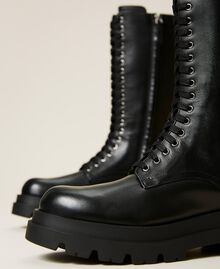 High top leather combat boots Black Woman 212TCP230-02
