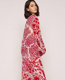 Blouse en crêpe georgette imprimé paisley Imprimé Paisley Rouge «Lave» / Rose«Boutons de Fleurs» Femme 201TP2531-05