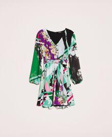 Vestido de georgette estampado Estampado Fular Negro Mujer 201MP2362-0S