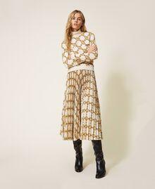 Maglia dolcevita con stampa catene Stampa Catena Grande Avorio / Oro Donna 202TT3340-01