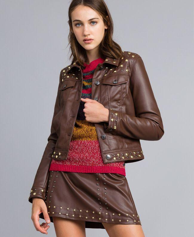 Jacke aus Lederimitat mit Nieten Mahagoni Bordeaux Frau YA82BC-01