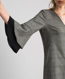 Glen plaid and georgette dress Lurex Dark Grey Wales Design Woman 192TT2447-04