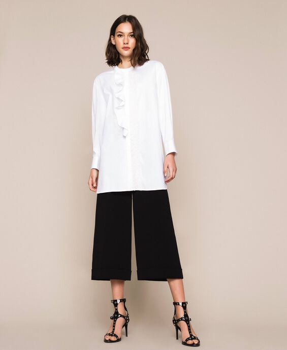 Poplin shirt with frills