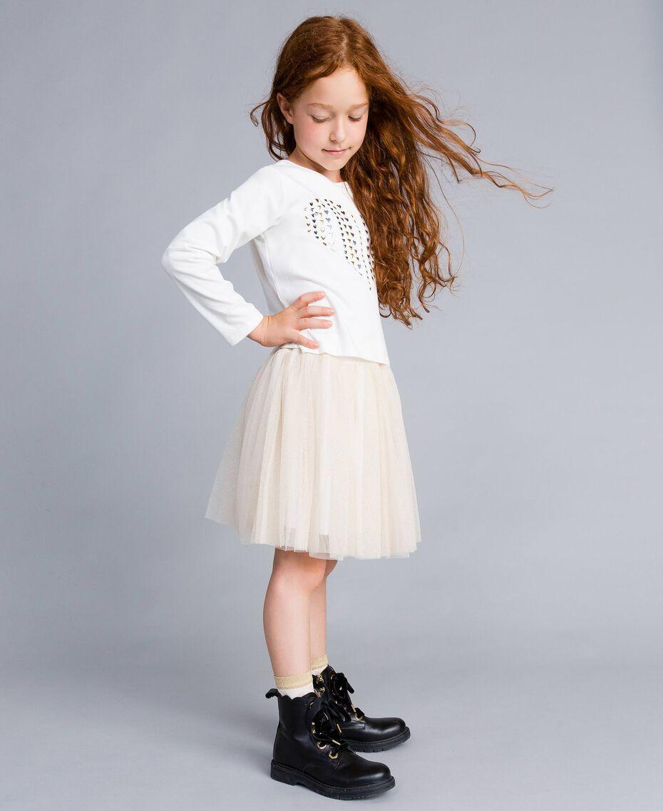 Jupe en tulle lurex Bicolore Blanc / Lurex Doré Enfant GA82L2-02