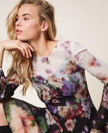 Длинное платье из жоржета с цветочным рисунком Принт Деграде Цветы Черный / Слоновая кость женщина 202TT2380-05
