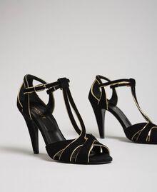 Sandalette aus Rauleder Schwarz Frau 192TCT01G-01