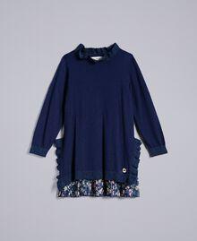 Robe en maille avec ruches Bicolore Bleu Blackout / Petite Fleur Enfant FA83B1-01