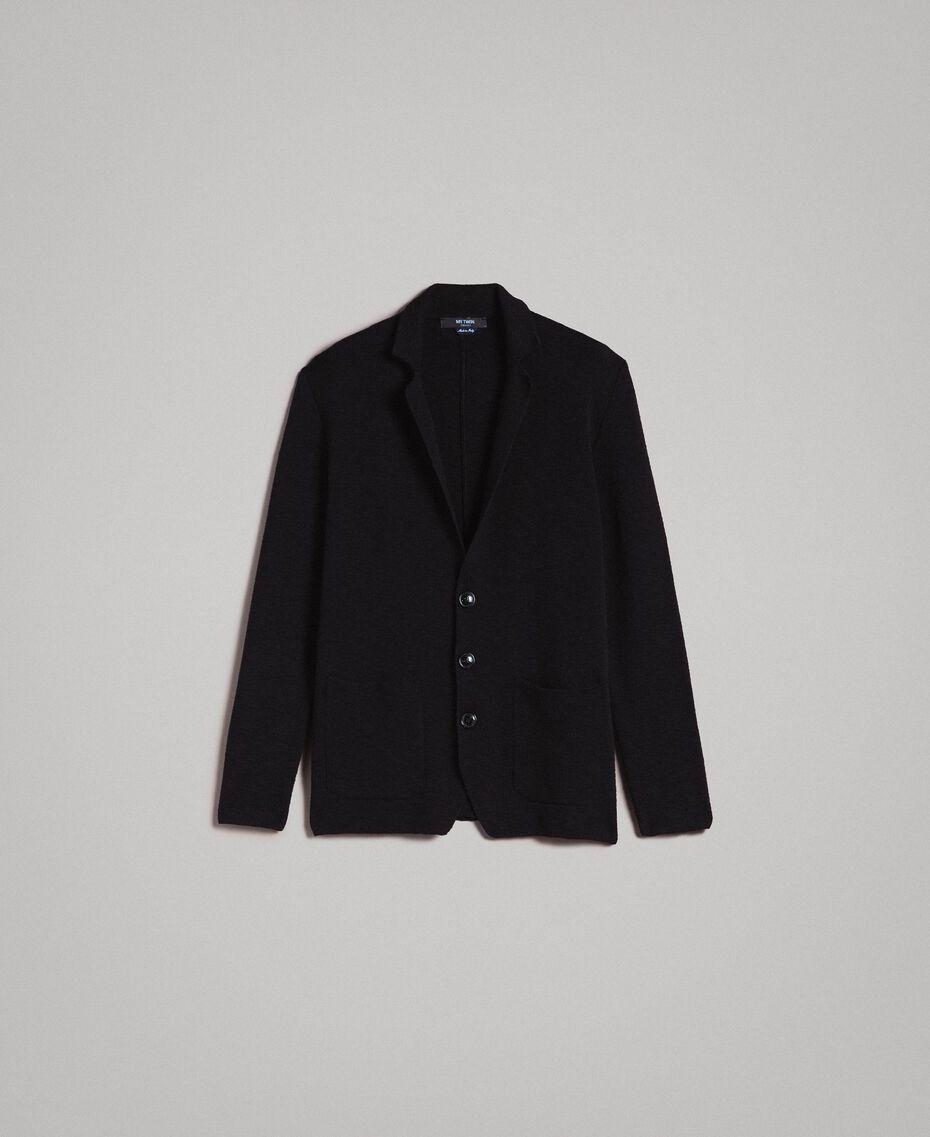 Cotton-blend knit jacket Black Man 191UT3090-0S
