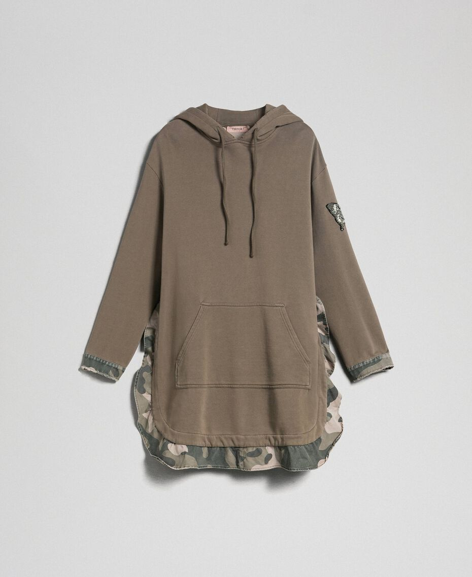 Maxi sweat avec détails camouflage Or Militaire / Imprimé Camouflage Femme 192TP2040-0S
