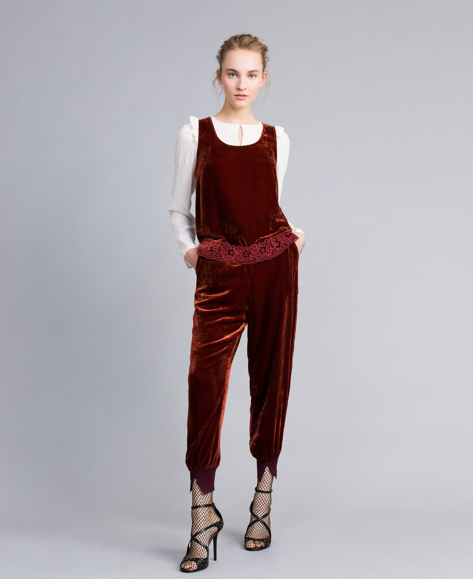 Top in velluto Bordeaux Donna PA823D-01