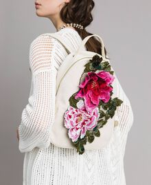 Canvas backpack with flowers Berry Red Woman 191MO8072-0S
