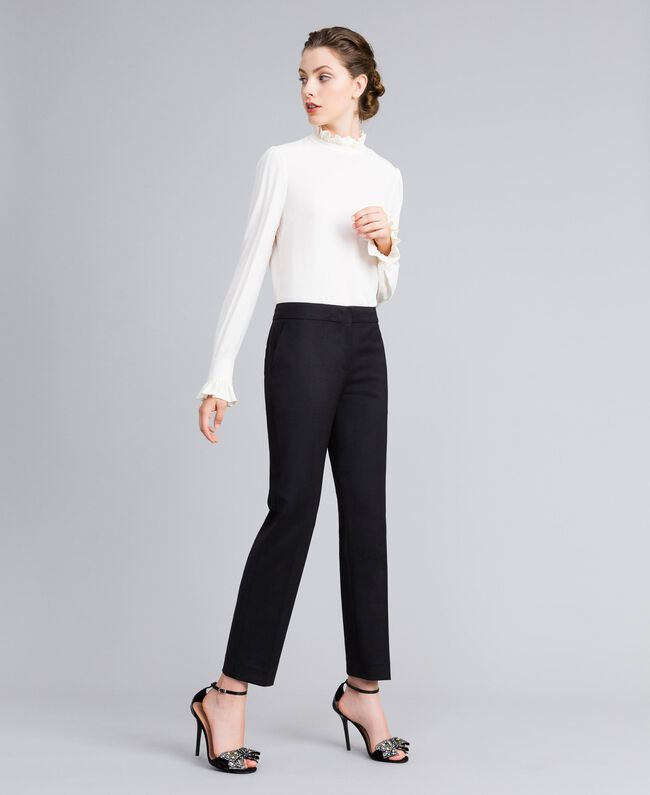 Cool wool drainpipe trousers Black Woman PA823P-01