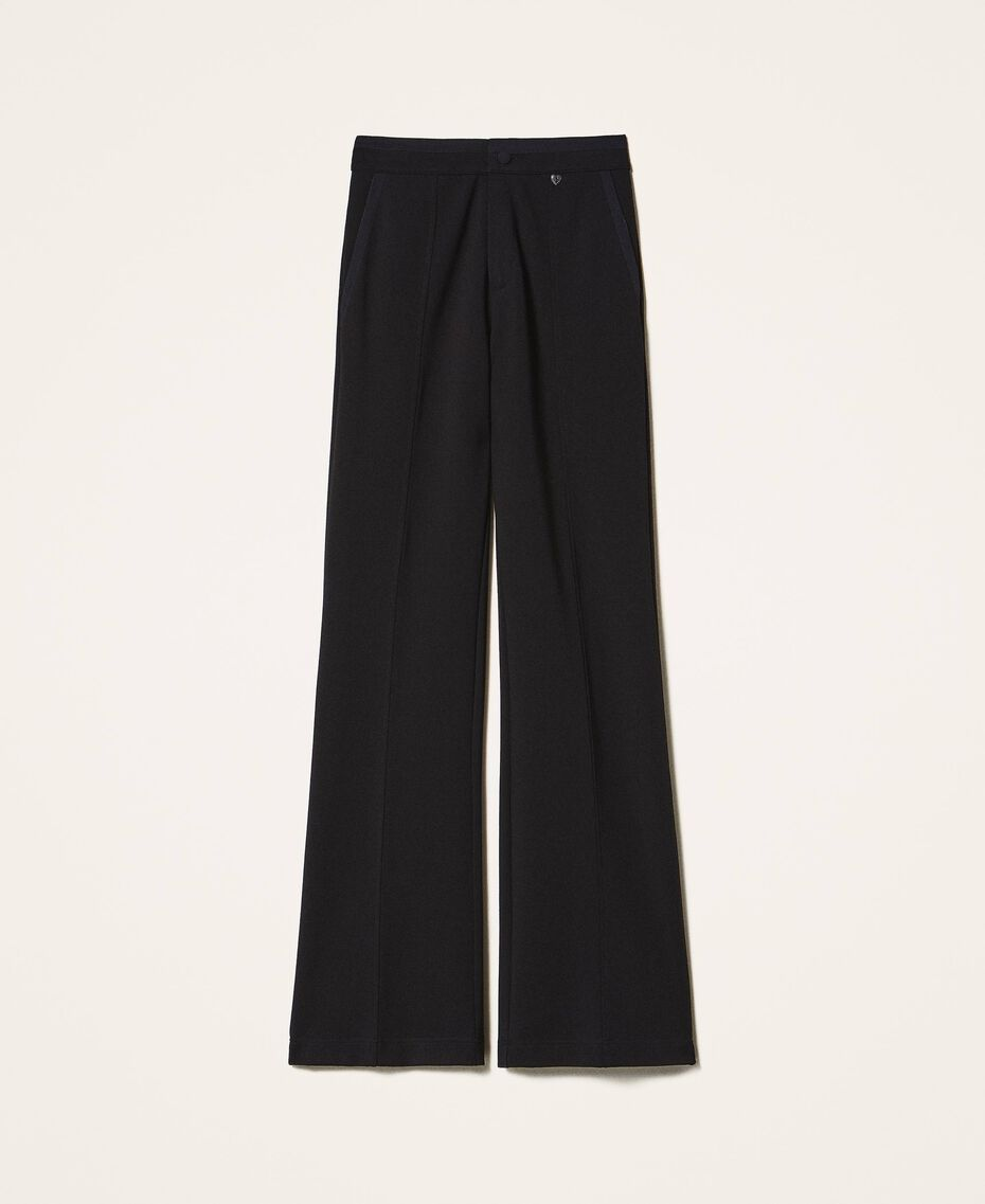Trousers with crêpe de Chine finishes Black Woman 202MP2292-0S