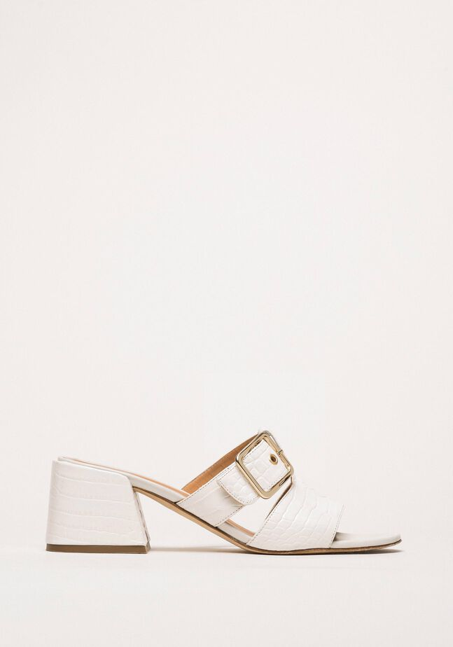 Leather mules with croc print