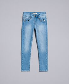 Skinny jeans with stones and rhinestones Light Denim Child GA82VN-01
