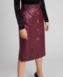 Jupe mi-longue en similicuir Rouge Velours Femme 192TT203B-01