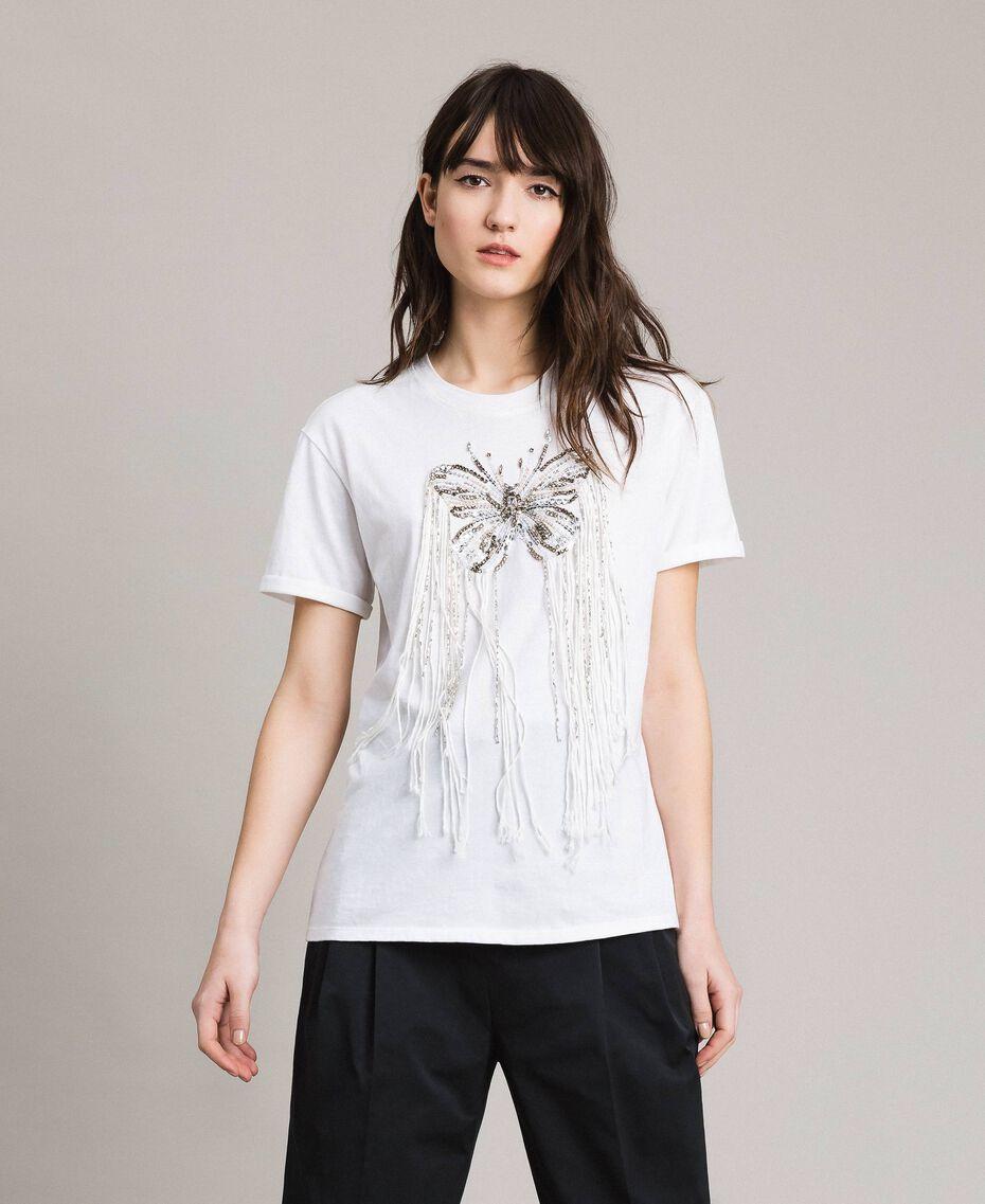 T-shirt avec broderie papillon et franges Blanc Femme 191TP2600-02