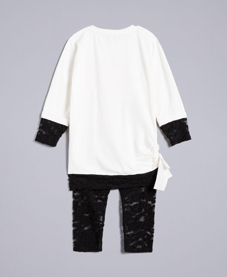 T-shirt con stampa e leggings in pizzo Bicolor Off White / Nero Bambina FA821V-0S