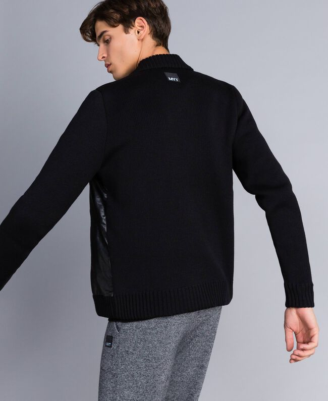 Leather and wool blend bomber jacket Black Man UA83FA-03