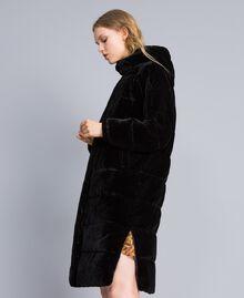 Doudoune longue en velours Noir Femme TA82BB-02