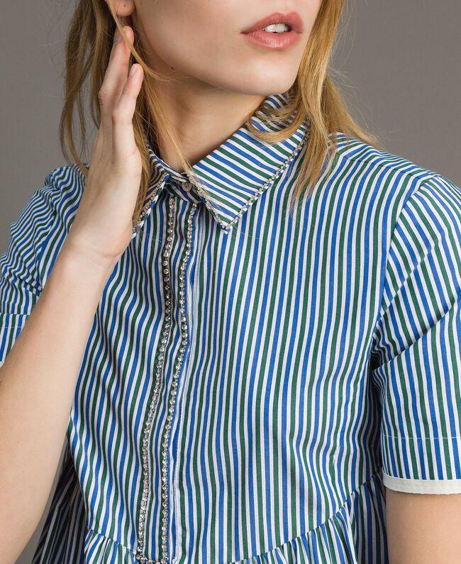 "Rhinestone striped blouse ""Evergreen"" Green / Cornflower Blue Striping Woman 191TP2310-04"