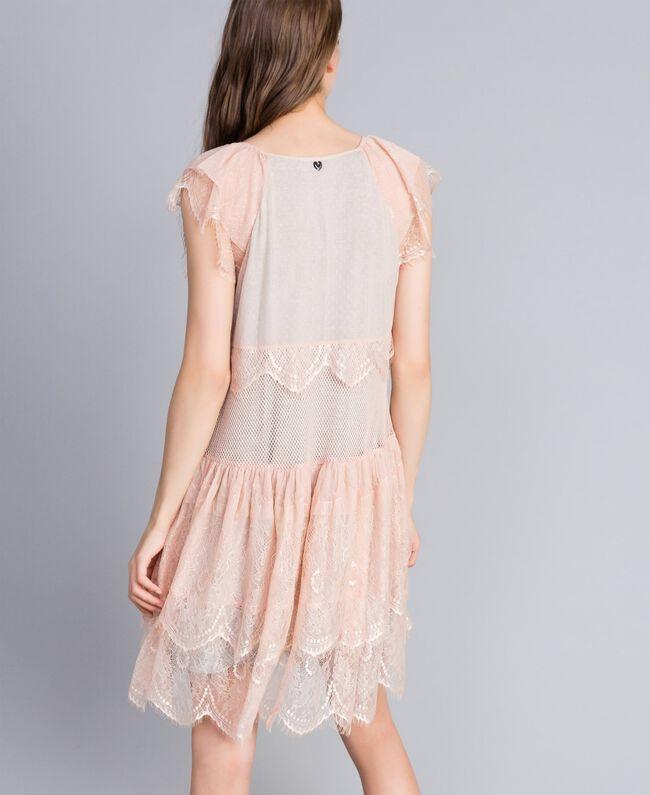 "Mesh, lace and plumetis dress Bicolour ""Nude"" Pink / Light Grey Melange Woman JA82HA-03"