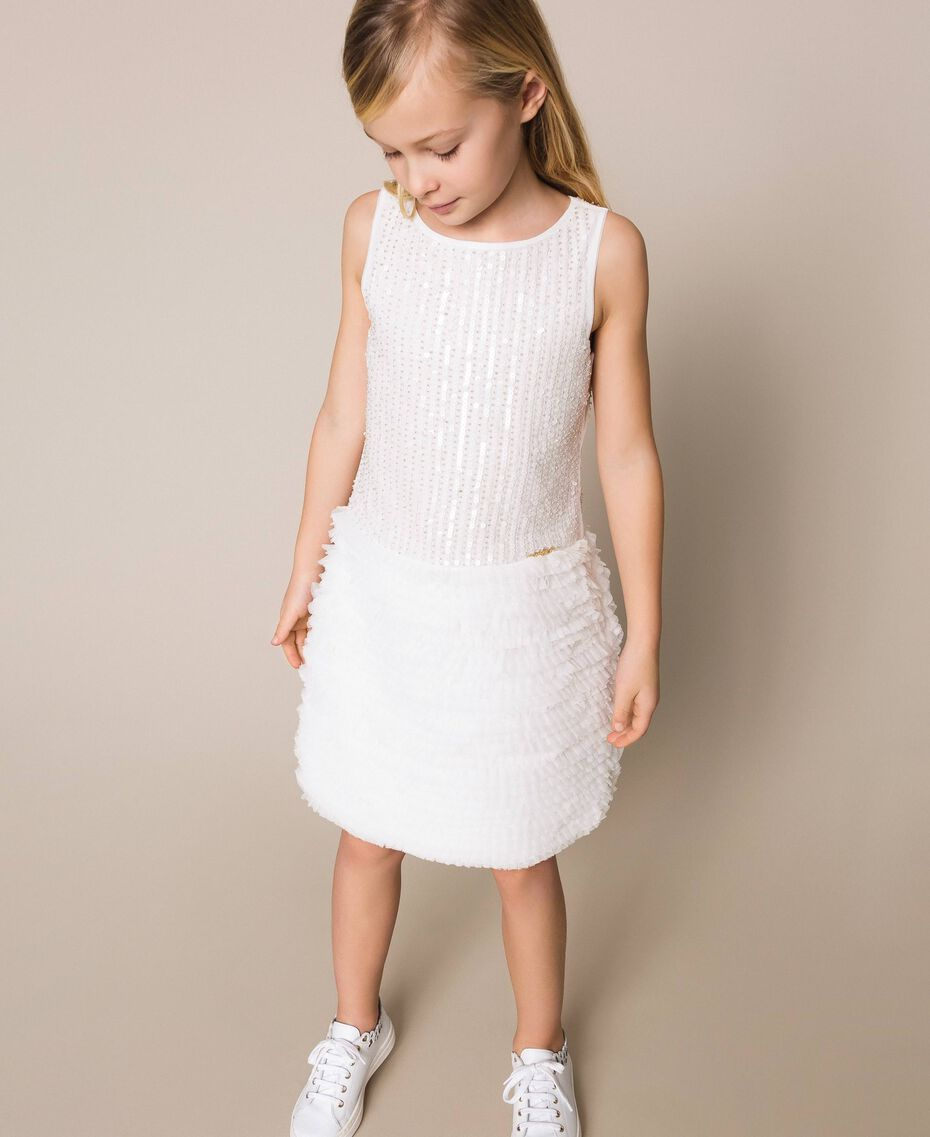 Sequin embroidery and tulle dress Off White Child 201GJ2Q6A-01