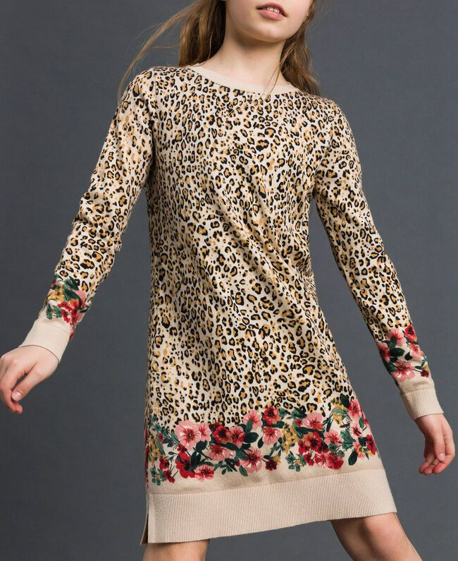 Mini-robe en maille animalière et florale Imprimé Léopard / Fleur Enfant 192GJ3180-01