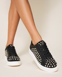 "Suede trainers with rhinestones Two-tone Black / ""Anthracite"" Grey Woman 202MCP012-0S"