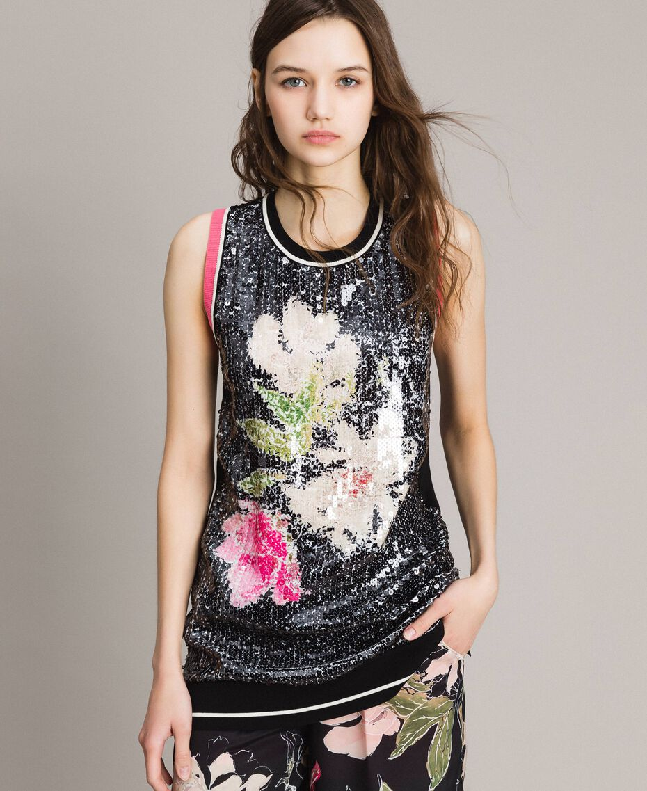 Top with sequins and contrasting trims Multicolour Black / Black Flowers Print Woman 191MT3111-02