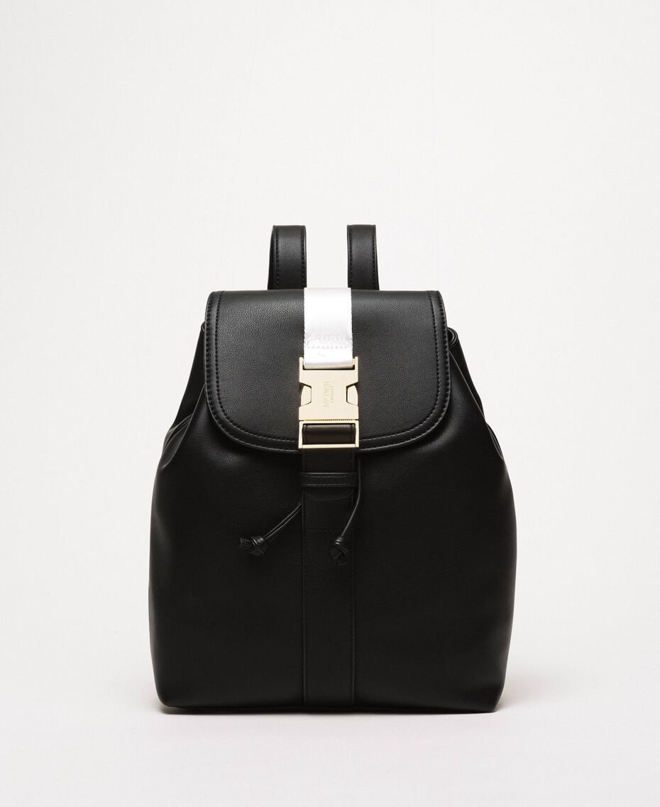 "Faux leather backpack with tuck closure Bicolour Black / ""Ice"" White Woman 201MO8071-02"