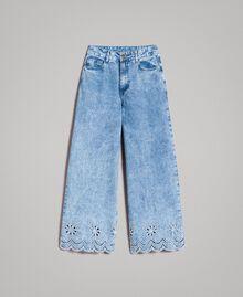 Weit geschnittene Jeans mit Broderie-Anglaise Denimblau Frau 191MP2010-0S