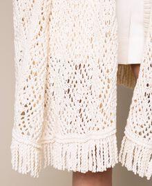 Cardigan poncho en crochet avec franges Blanc Antique White Femme 201TT3101-05