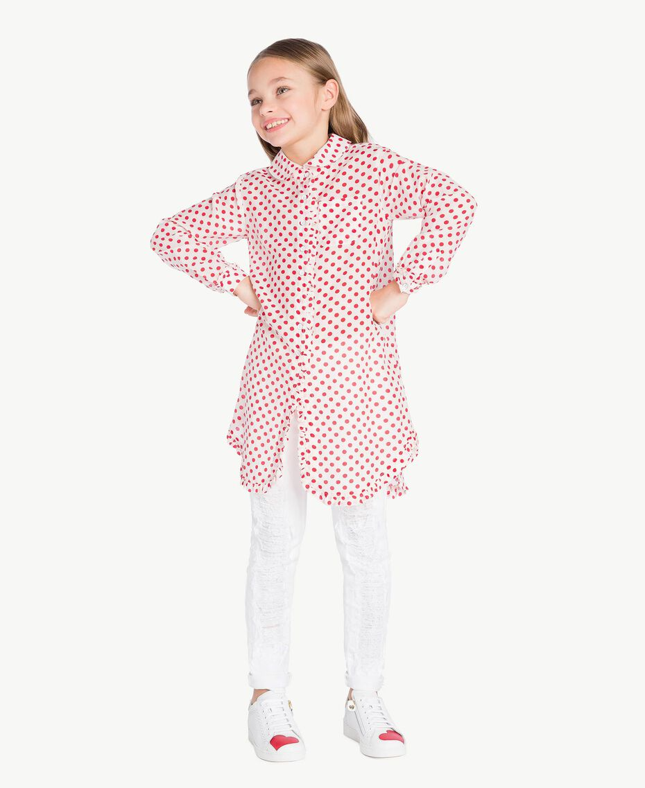 "Polka dot tunic ""Papyrus"" White Polka Dot Print / Pomegranate Red Child GS82PP-02"