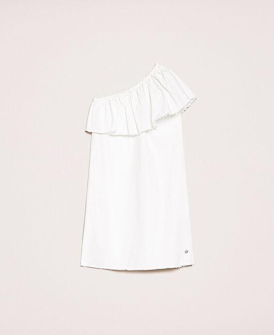 White denim dress with ruffles